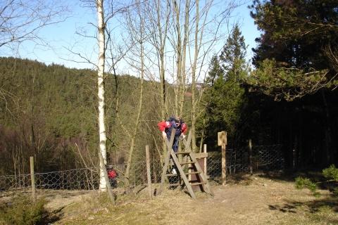 Tonje klatrer over gjerdet på toppen av haugen vedBråsteinsnuten