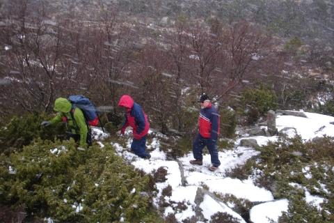 Tonje, far og mor går i snøen opp motLifjell