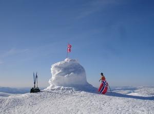 Snøvarden med norske flagg på toppen av Tveitakvitingen, Kvamskogen