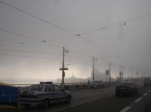 Irkutsk i morgentåken med søndag 20. juli 2008