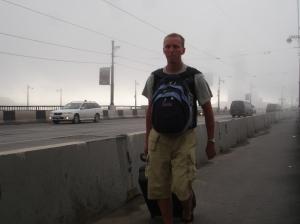 Jeg på vei mot stasjonen i Irkutsk