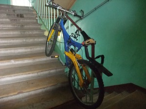 Det er annonsert med sykkelutleie. Her er sykkelen.