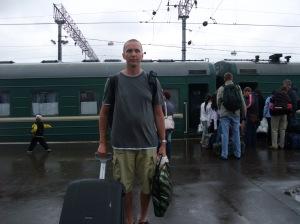Jeg på Jaroslavskij-stasjonen i Moskva