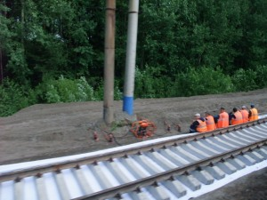 Russiske jernbanearbeidere langs den transsibirske jernbanelinjen i Europeisk Russland