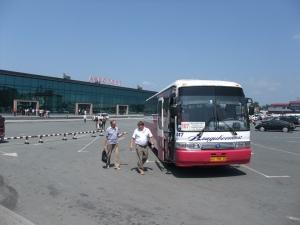 Flybussen utenfor flyplassen i Vladivostok