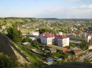 Utsikt bortover vollen og vestsiden av gamlebyen i Tobolsk