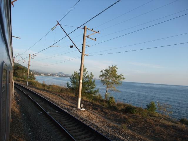 Utsikt fra toget fra Sotsji