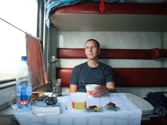 Jeg på toget på vei mot Rostov i Sydrussland