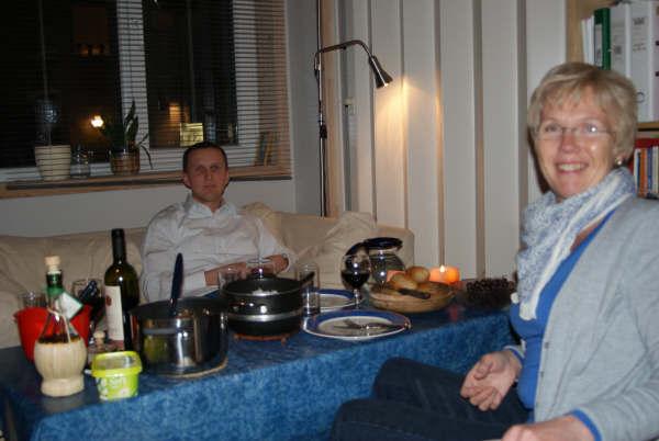 Mor og jeg middagen første dagen