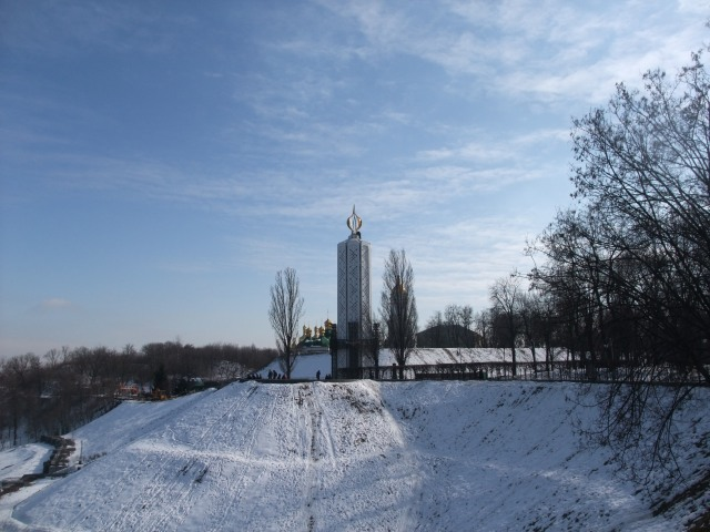 Her er utsikten mot Lavra vinterstid, Kiev.