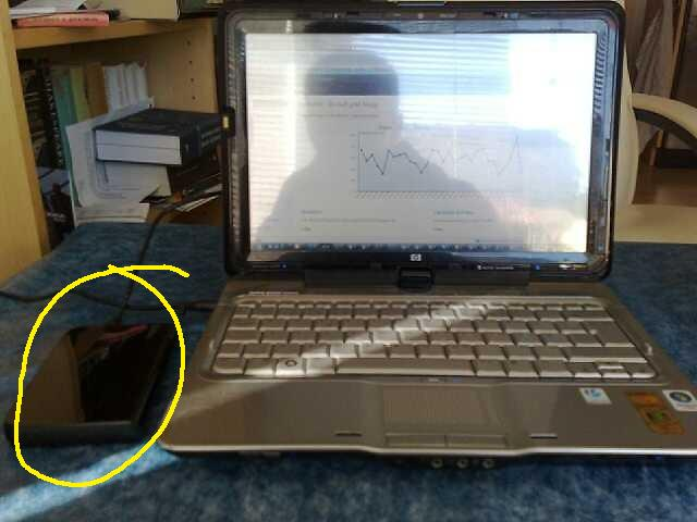 Her ser dere den ringet inn, fin liten harddisk fra Western digital.