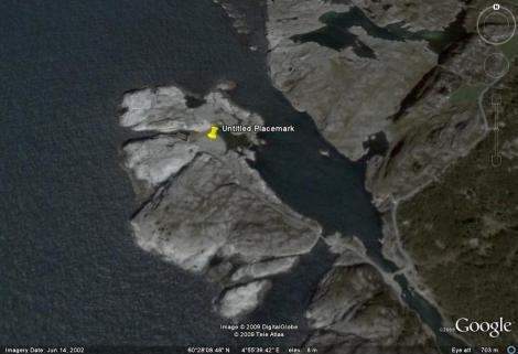 Her ser dere naturformasjonene ved selve bølgekraftverket.