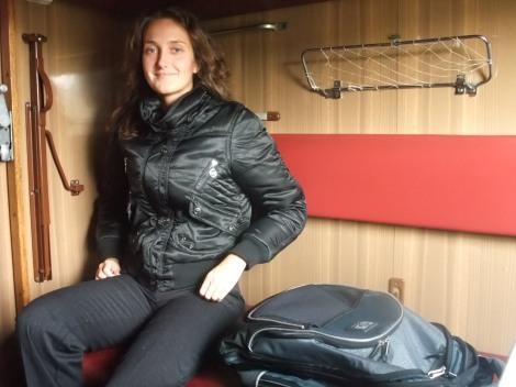 Olia på toget til Simferopol