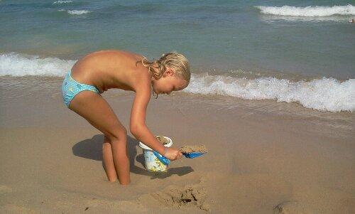 Barn, bøtte, strand, Spania